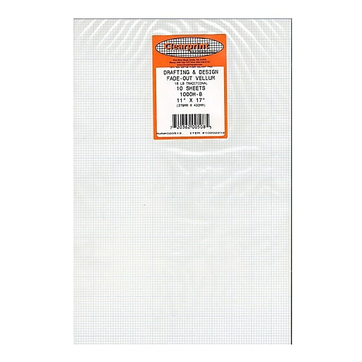 Clearprint Fade-Out Design and Sketch Vellum - 8x8 Grid, 11 in. x 17 in., 10 sheets