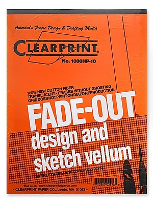 Clearprint Fade-Out Design and Sketch Vellum - 10x10 Grid, 22 in. x 34 in., 10 sheets