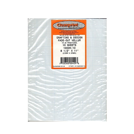 Clearprint Fade-Out Design and Sketch Vellum - 10x10 Grid, 8 1/2 in. x 11 in., 10 sheets