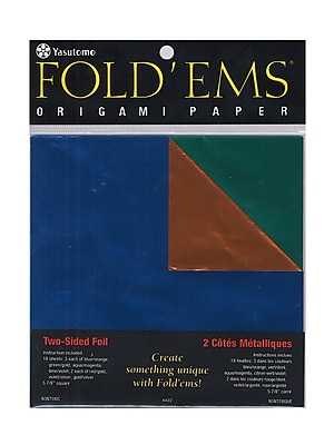 Yasutomo Fold'ems Origami Paper Two-Sided, Foil/Solid, 5 7/8