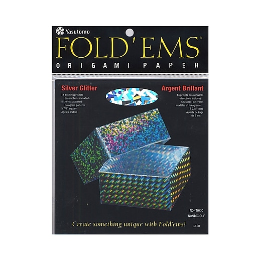 Yasutomo Fold'ems Origami Paper silver glitter 5 7/8 in. pack of 5 [Pack of 2]