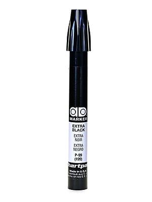 Chartpak AD Marker, Extra Black, Tri-Nib [Pack of 6]