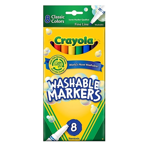 Crayola Classic Color Ultra-Clean Washable Markers fine tip pack of 8 [Pack of 4]