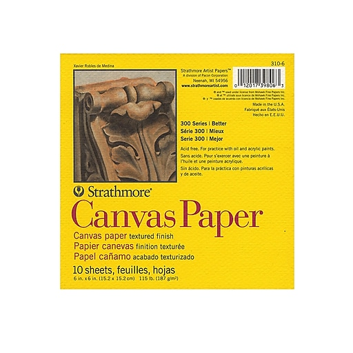 Strathmore 300 Series Canvas Pads 6 in. x 6 in. 10 sheets [Pack of 6]