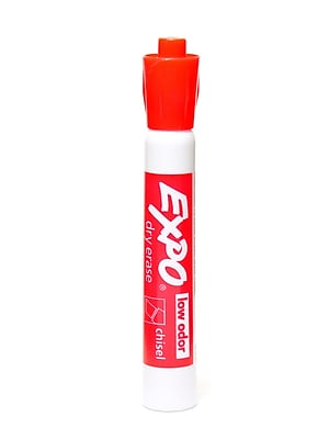 Expo Low-Odor Dry Erase Markers, Red, 6/Pack (73322-PK6)