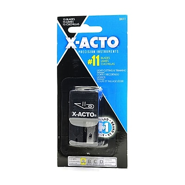X-Acto 74218-PK4 No. 11 Blades Safety Dispenser, (15/Carded) 4/Pack