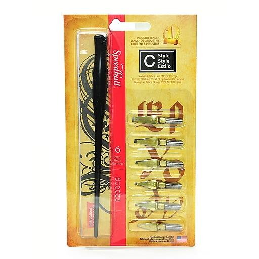 Speedball Flat Pen Nibs, Assorted, 6/Set, 2/Pack (77664-PK2)