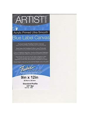 Fredrix Blue Label Ultra-Smooth Portrait Grade Pre-Stretched Artist Canvas 9 in. x 12 in. each