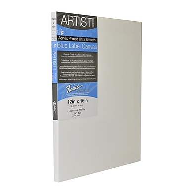Fredrix Blue Label Ultra-Smooth Portrait Grade Pre-Stretched Artist Canvas, 12