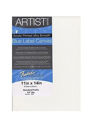 "Fredrix Blue Label Ultra-Smooth Portrait Grade Pre-Stretched Artist Canvas, 11"" x 14"", 2/Pack (73243-PK2)"