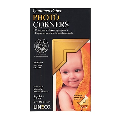 Lineco Infinity Paper Gold Photo Corners, Pack of 252, 2/Pack (20649-PK2)