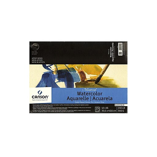 Canson Montval Watercolor Paper 12 in. x 16 in. block of 15 140 lb. cold press