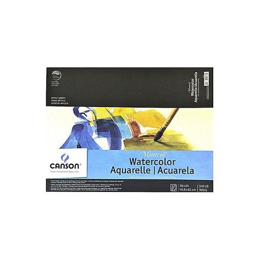 Canson Montval Watercolor Paper 18 in. x 24 in. pad of 12 140 lb. cold press