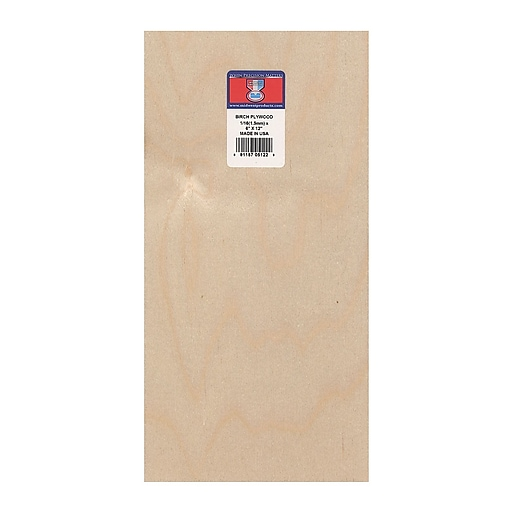 """Midwest Thin Birch Plywood Aircraft Grade 1/16"""" 6"""" x 12"""", 3/Pk"""