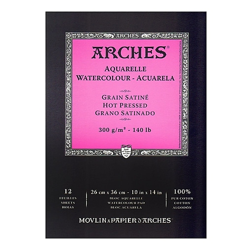 Arches Watercolor Pad 10 in. x 14 in. hot pressed 140 lb.