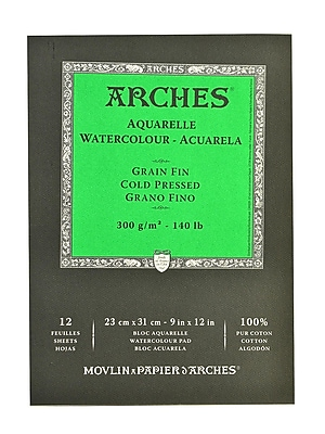 Arches Watercolor Pad 9 in. x 12 in. cold pressed 140 lb. [Pack of 2]