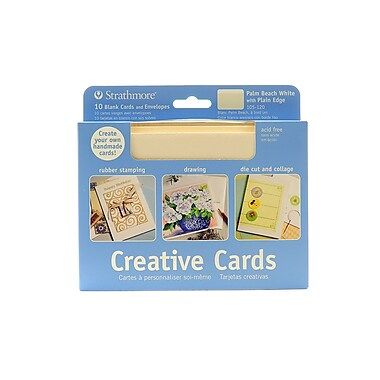 Strathmore Blank Greeting Cards with Envelopes Palm Beach white with no deckle pack of 10 [Pack of 2]