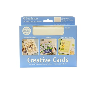Strathmore Blank Greeting Cards with Envelopes, Fluorescent White with Same Deckle, 2/Pack (51582-PK2)