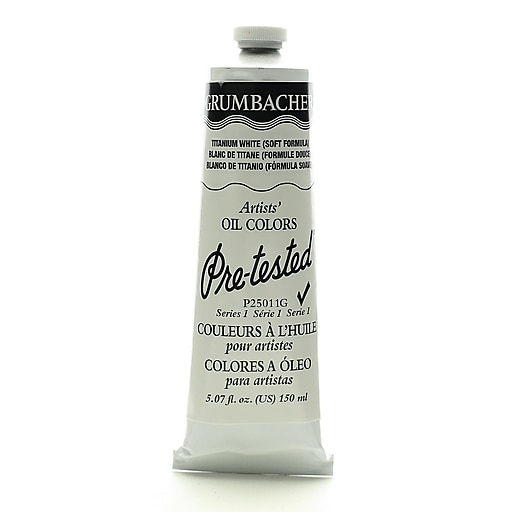 Grumbacher Pre-tested Oil Paint, Titanium White (Soft Formula) P250 5.07 oz. tube