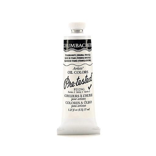 Grumbacher Pre-tested Oil Paint, Titanium White (Original Formula) P212, 1.25 oz. tube [Pack of 2]