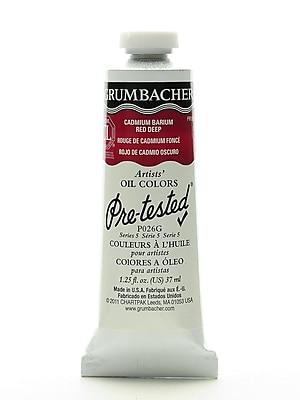 Grumbacher Pre-tested Oil Paint, Cadmium Barium Red Deep P026, 1.25 oz. tube