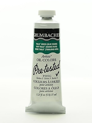 Grumbacher Pre-tested Oil Paint, Thalo Green (Blue Shade) P205, 1.25 oz. tube