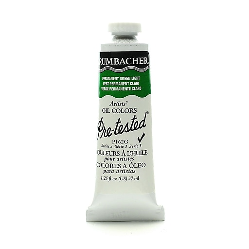 Grumbacher Pre-tested Oil Paint, Permanent Green Light P162, 1.25 oz. tube