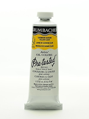 Grumbacher Pre-tested Oil Paint, Cadmium Barium Yellow Light P033, 1.25 oz. tube