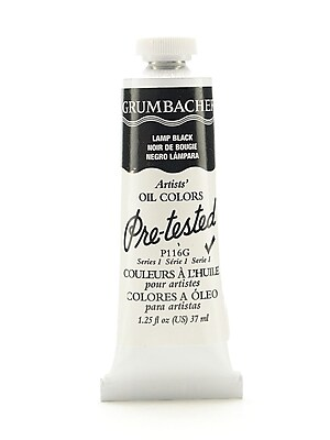 Grumbacher Pre-tested Oil Paint, Lamp Black P116, 1.25 oz. tube [Pack of 2]