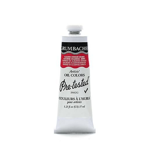 Grumbacher Pre-tested Oil Paint, Alizarin Crimson Golden P002, 1.25 oz. tube