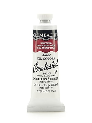 Grumbacher Pre-tested Oil Paint, Burnt Sienna P023, 1.25 oz. tube [Pack of 2]