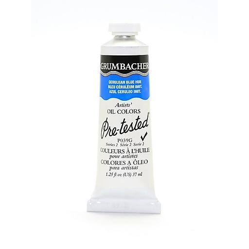 Grumbacher Pre-tested Oil Paint, Cerulean Blue Hue P039, 1.25 oz. tube