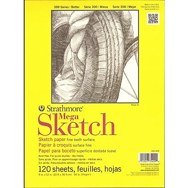 Strathmore 300 Series Sketch Pads 9 in. x 12 in. glue bound 120 sheets [Pack of 3]