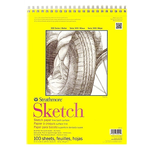 Strathmore 300 Series Sketch Pads 11 in. x 14 in. wire bound 100 sheets [Pack of 2]