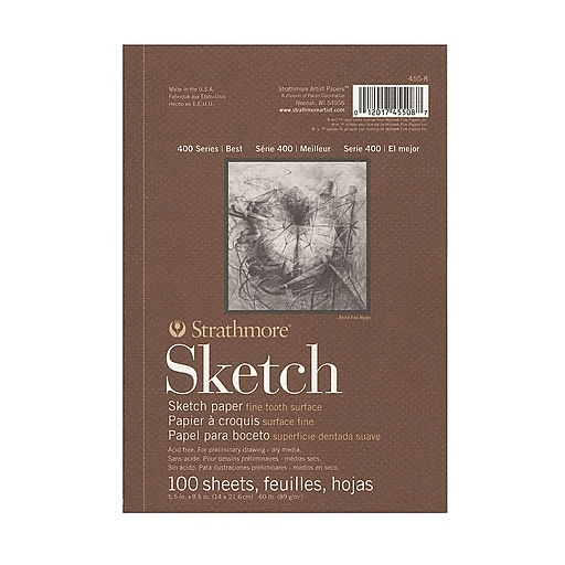 Strathmore Series 400 Sketch Pads 8 1/2 in. x 5 1/2 in. 100 sheets [Pack of 4]