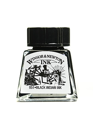 Winsor and Newton Drawing Inks, Black Indian Ink, 14ml 30, 4/Pack (59894-PK4)