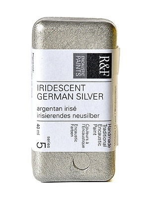 R and F Handmade Paints Encaustic Paint iridescent German silver 40 ml