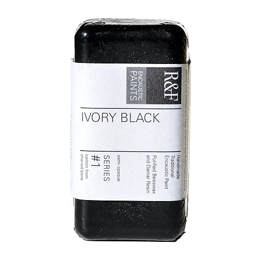 R  and  F Handmade Paints Encaustic Paint ivory black 40 ml [Pack of 2]