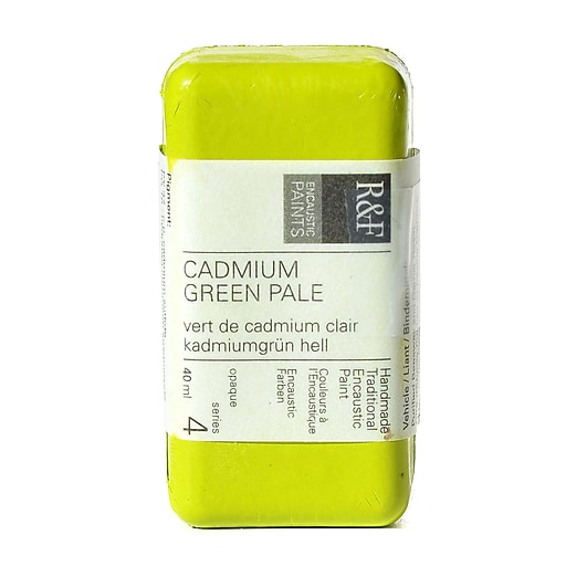 R  and  F Handmade Paints Encaustic Paint cadmium green pale 40 ml
