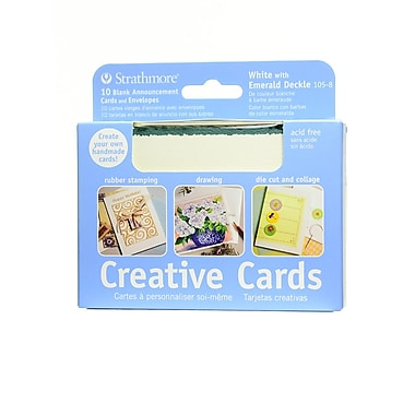 Strathmore Announcement Card white with green deckle [Pack of 3]