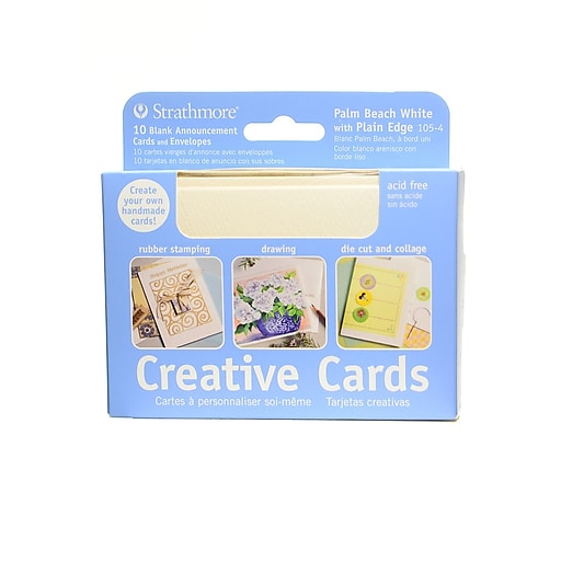 Strathmore Announcement Card Palm Beach white with no deckle [Pack of 3]