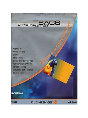 ClearBags 8-1/2in x 11in Crystal Clear Photography and Art Bags, Pack of 25, 3/Pack (17374-PK3)