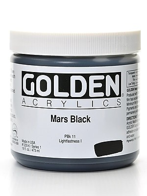 Golden Heavy Body Acrylics, Mars Black, 16oz (12387)
