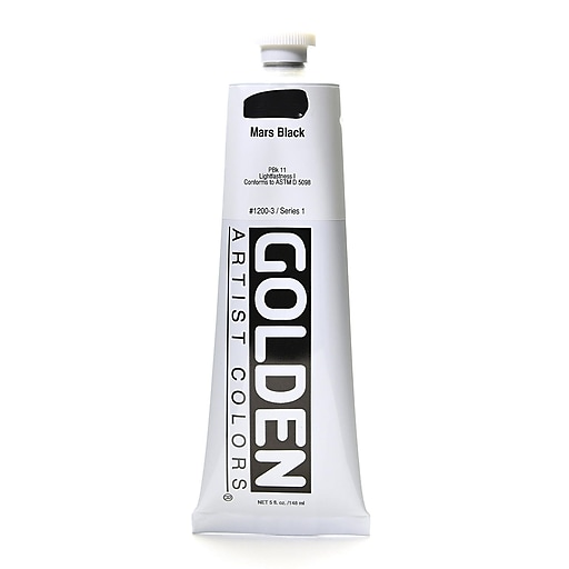 Golden Heavy Body Acrylics mars black 5 oz.