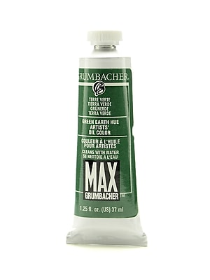 Grumbacher Max Water-Soluble Oil Paint, 1.25 oz. tube, Green Earth Hue (Terre Verte) [Pack of 2]