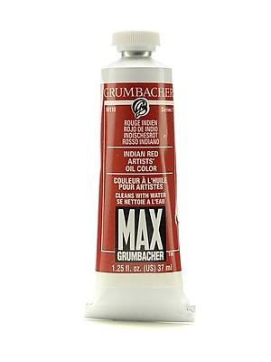 Grumbacher Max Water-Soluble Oil Paint, 1.25 oz. tube, Indian Red [Pack of 2]