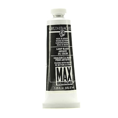 Grumbacher Max Water-Soluble Oil Paint, 1.25 oz. tube, Lamp Black [Pack of 2]