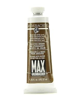 Grumbacher Max Water-Soluble Oil Paint, 1.25 oz. tube, Van Dyck Brown Hue [Pack of 2]