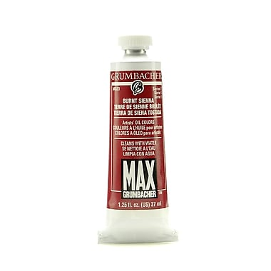 Grumbacher Max Water-Soluble Oil Paint, 1.25 oz. tube, Burnt Sienna [Pack of 2]