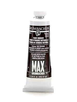Grumbacher Max Water-Soluble Oil Paint, 1.25 oz. tube, Raw Umber [Pack of 2]